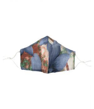Katoenen verstelbaar mondkapje met bloemenprint in blauw-groen