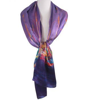 Zijden lila sjaal met aquarel print