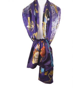 Paarse satijn zijden sjaal met mix van prints