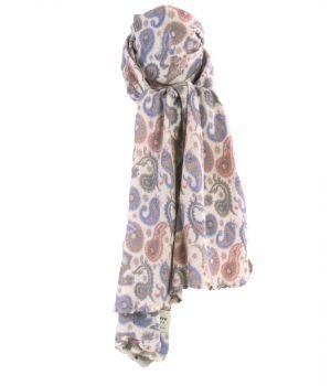 Ecru kasjmiermix sjaal met paisley print