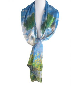 Zijden sjaal met print ''Vrouw met Parasol'' van Claude Monet