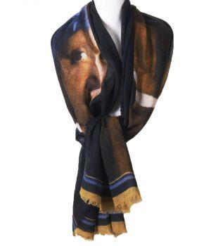 Wollen mousseline schilderij-sjaal met afbeelding van Het meisje met de parel