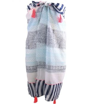 Katoenen sarong met diverse prints in donkerblauw