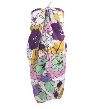 Pareo met bloemenprint in paars en oudroze