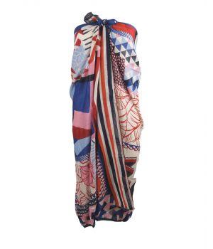 Blauw/roze sarong met mixed print