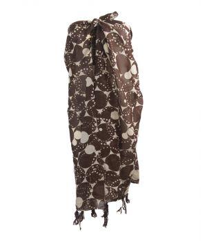 Ivoor/bruine sarong met kwastenfranje