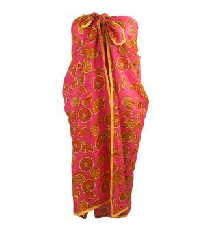 Hardroze sarong met sinaasappel print