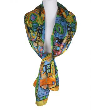Zijden sjaal met kleurrijke moderne kunst print