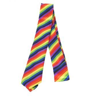 Extra smalle stropdas met regenboog print