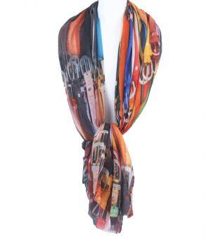 Soepelvallende sjaal met multicolor riemen print