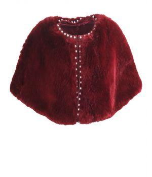 Donkerrode faux bont cape met parel studs