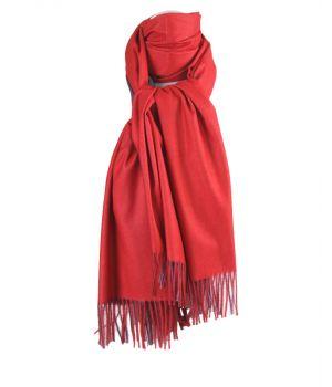 Kasjmier-blend sjaal in de kleuren rood en grijs