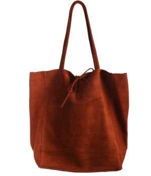 Suede shopper in roest-oranje