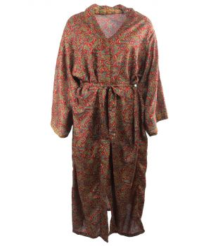 Lange zijde-blend kimono in donkerrood