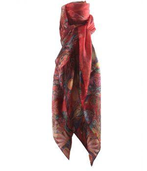 Rode zijde sjaal/stola met vlinder -en bloemenprint