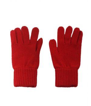 Fijn gebreide rode 100% kasjmier handschoenen
