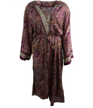 Lange zijde-blend kimono in wijnrood met paisley print
