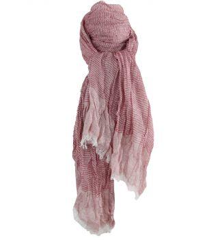 Gecrushte sjaal met strepen in rood-wit