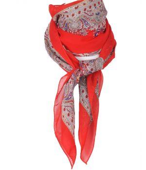 Vierkante rode crêpe voile sjaal