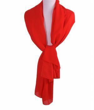 Rode effen zijden sjaal/stola