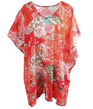 Rode tuniek met bloemenprint- en ornament print