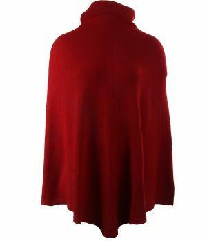 Rode poncho met col van 100% kasjmier