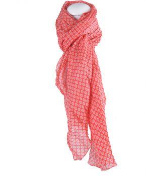 Rode sjaal met diamantvormig printje