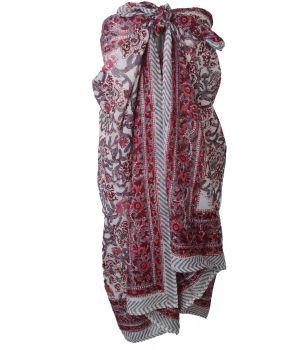 Katoenen sarong met floral print in wijnrood en roze