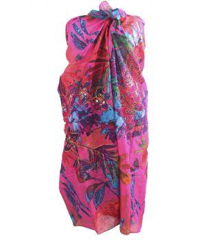 Fuchsia sarong met tropische bloemenprint