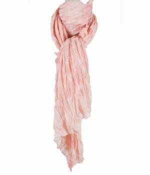 Crushed lichtroze sjaal met sterrenprint