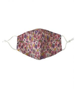 Katoen mondkapje in lichtroze met bloemenprint
