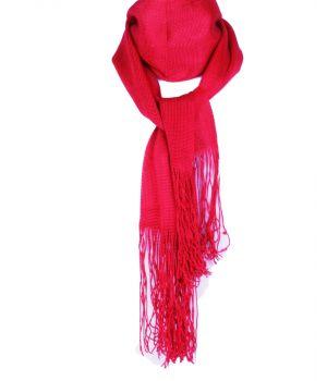 Glanzend roze-rood gebreid sjaaltje