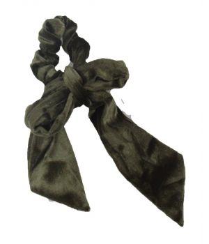 Velvet Scrunchie met strik in legergroen