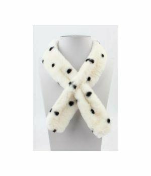 Smalle ivoorkleurige polka dot bont das/sjaal