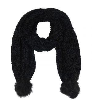 Zwarte gebreide sjaal met kunstbont pompoenen