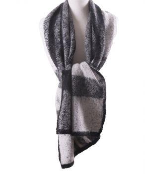 Zachte XL-sjaal met geweven ruiten in zwart-wit