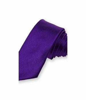 Paarse extra smalle stropdas in polysatijn.