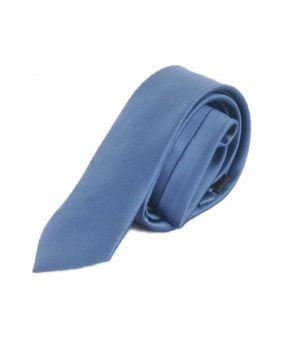 Staalblauwe satijnen stropdas