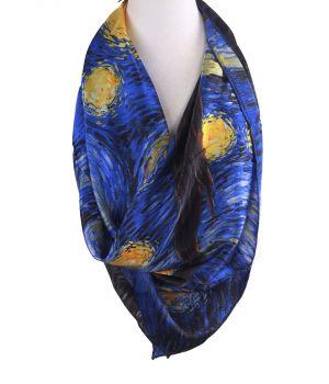 """Zijden sjaal met afbeelding van """"Sterrennacht' van Van Gogh"""