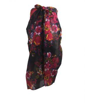 Zwarte sarong met hardroze bloemenprint