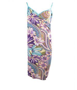 Wikkel-strandjurk met turquoise-paarse bloemenprint