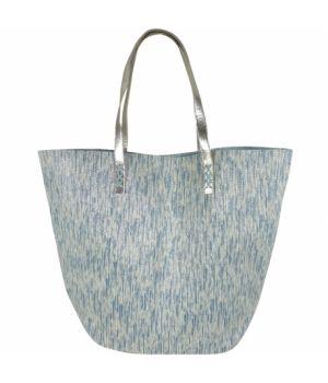 Strandtas met gevlochten lurex in turquoise-wit