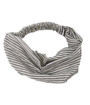 Katoenen haarband met strepen in zwart en ivoor