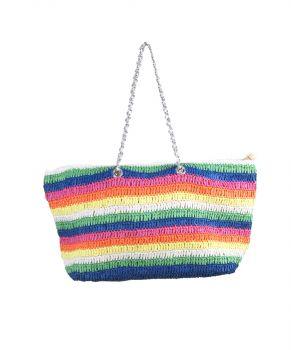 Kleurrijke gevlochten strandtas