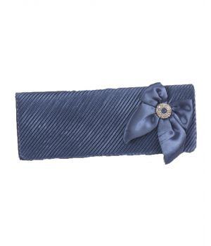 Blauwgrijs avondtasje met strik en strass broche
