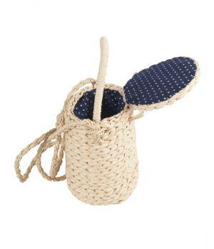 Ivoorkleurige bucket tasje van gevlochten stro