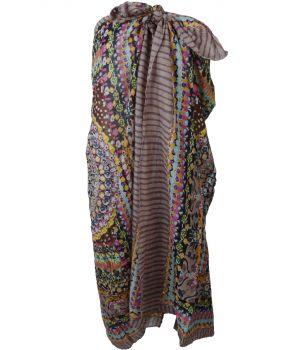 Taupe kleurige sarong met ornament- en bloemenprint