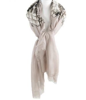 Zandkleurige sjaal met slangenprint middenstuk