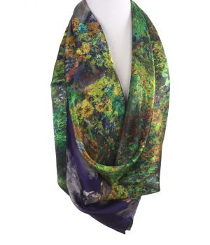 Vierkante sjaal met print ''The Artist's Garden at Vétheuil'' van Monet