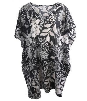 Katoenen tuniek met bloemenprint in zwart-wit